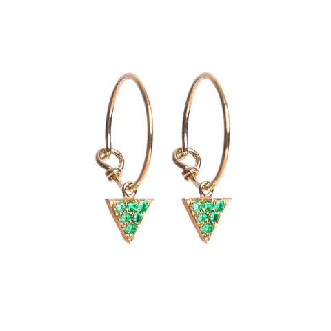 Emerald Triangle Hoop Earrings