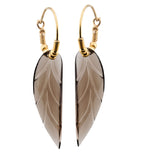Smoky Quartz Leaf Earrings