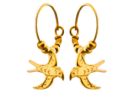 Small Swallow Hoop Earrings