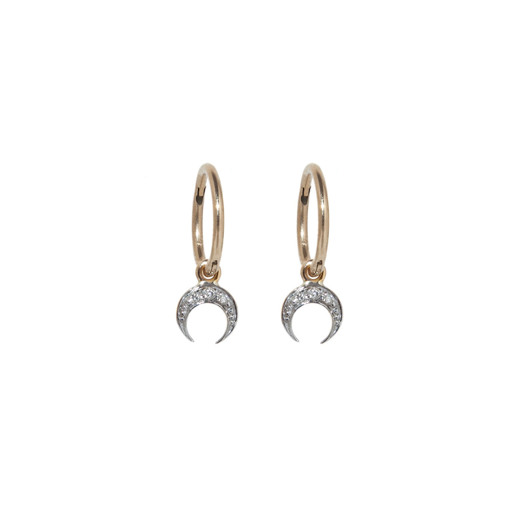 Diamond Crescent Moon Hoop Earrings