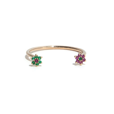 Emerald + Ruby Flower Ring