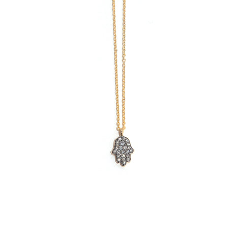 Blackened Diamond Hamsa Necklace