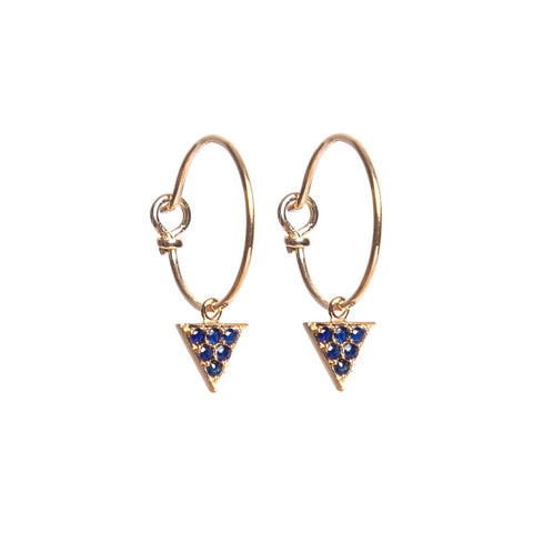 Sapphire Triangle Hoop Earrings