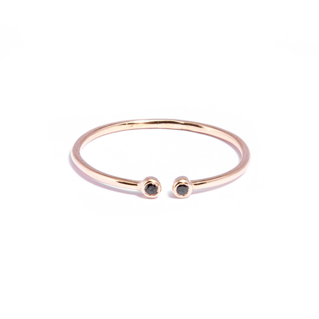 Black Diamond Gold Pair Ring