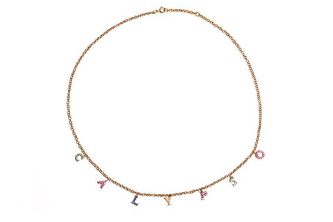 Rainbow Letter Charm Necklace