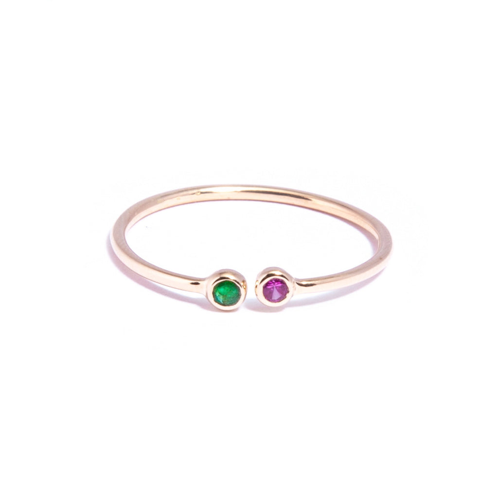 Emerald and Ruby Gold Pair Ring