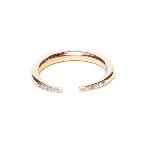 Double Diamond Crescent Ring