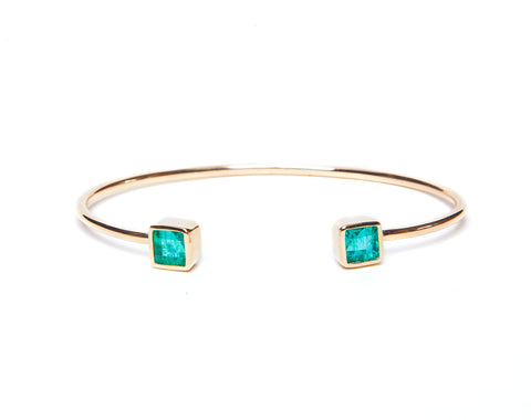 Square Emerald Bangle