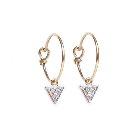 White Diamond Triangle Hoop Earrings
