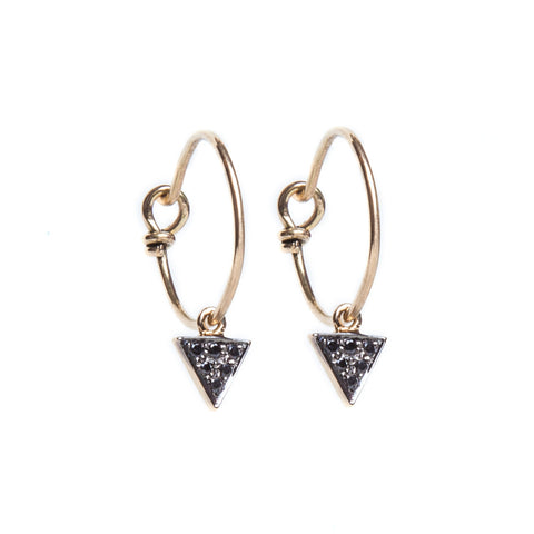 Black Diamond Triangle Hoop Earrings