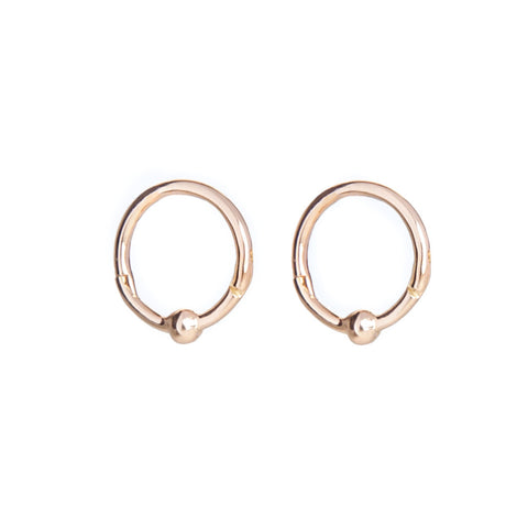 Gold Ball Tiny Hoop Earrings