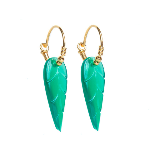 Green Onyx Leaf Earrings
