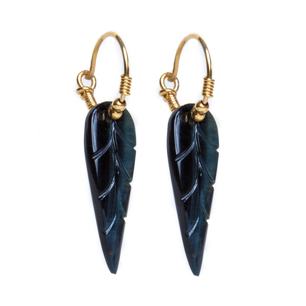Tigers Eye Leaf Earrings