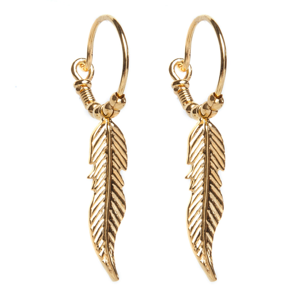 i+i Feather Hoop Earrings