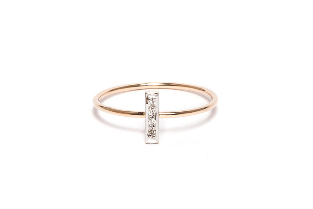White Diamond Rectangle Ring