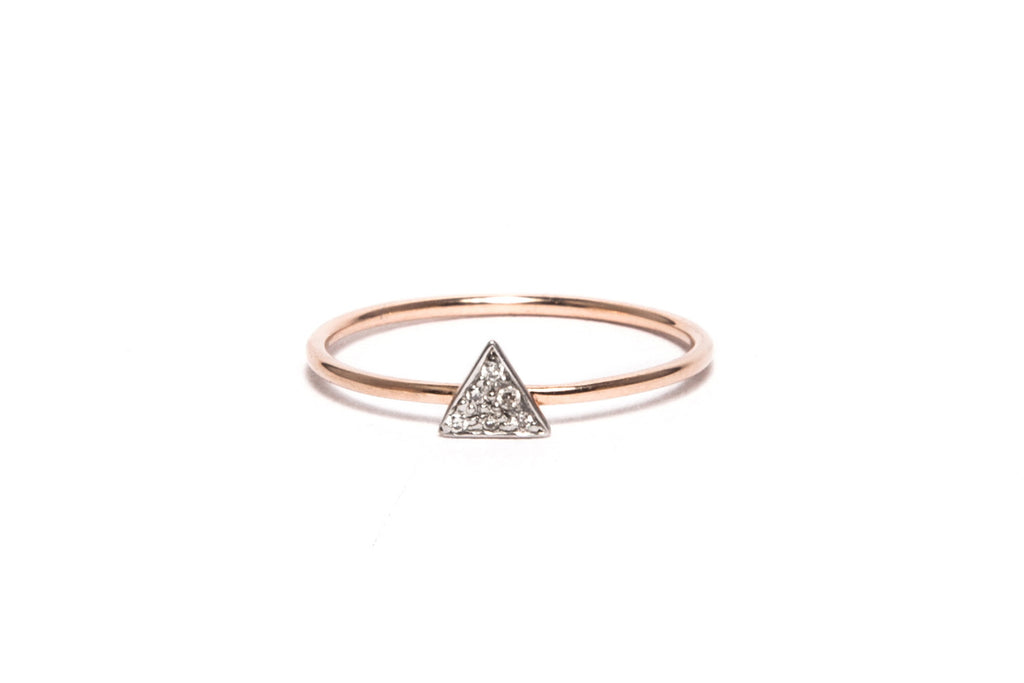 White Diamond Triangle Stack Ring