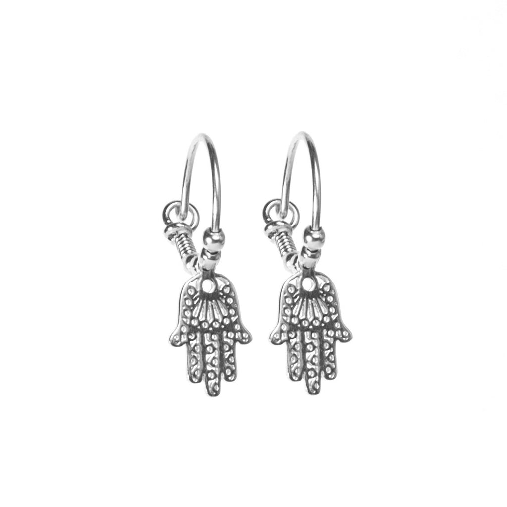 Hamsa Silver Hoop Earrings
