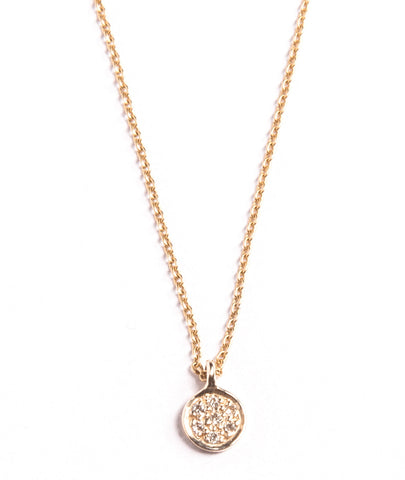 White Diamond Tiny Disc Necklace
