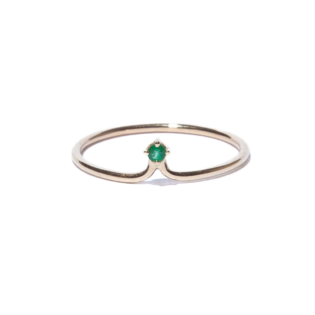 Emerald Flower Bracket Ring