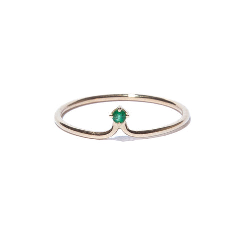 Single Emerald Crown Ring