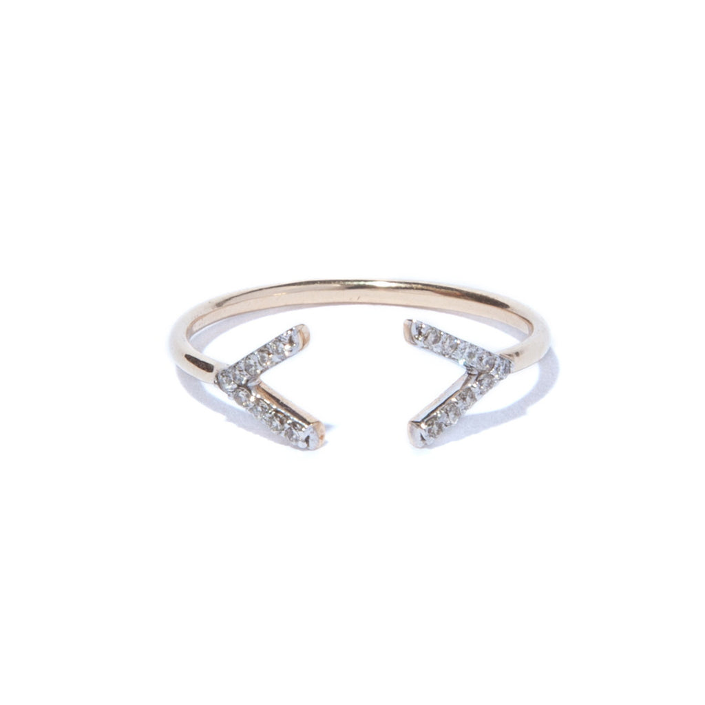 Diamond French Quotation Mark Ring