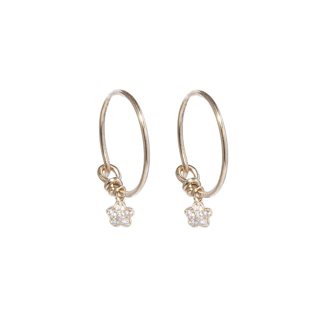 Diamond Flower Hoop Earrings