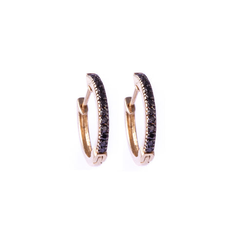 Black Diamond Half Hoop Earrings