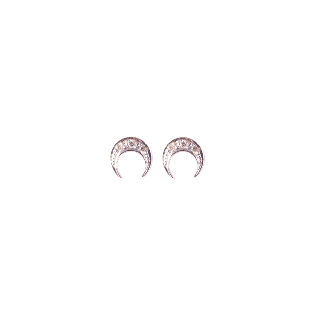 Crescent Moon Diamond Studs