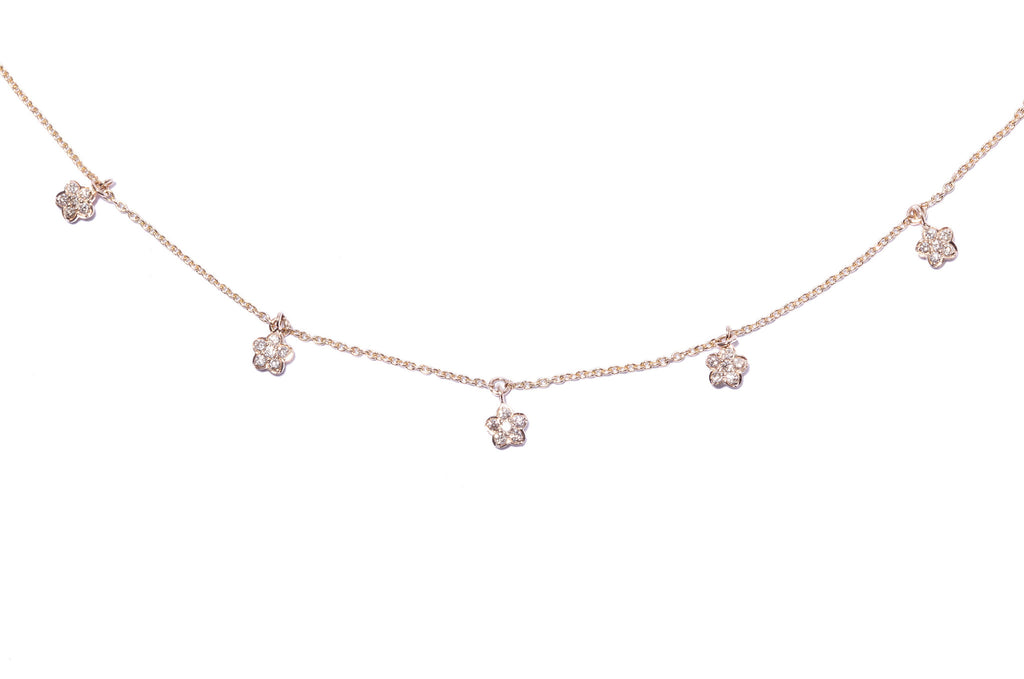 Multi Diamond Flower Necklace