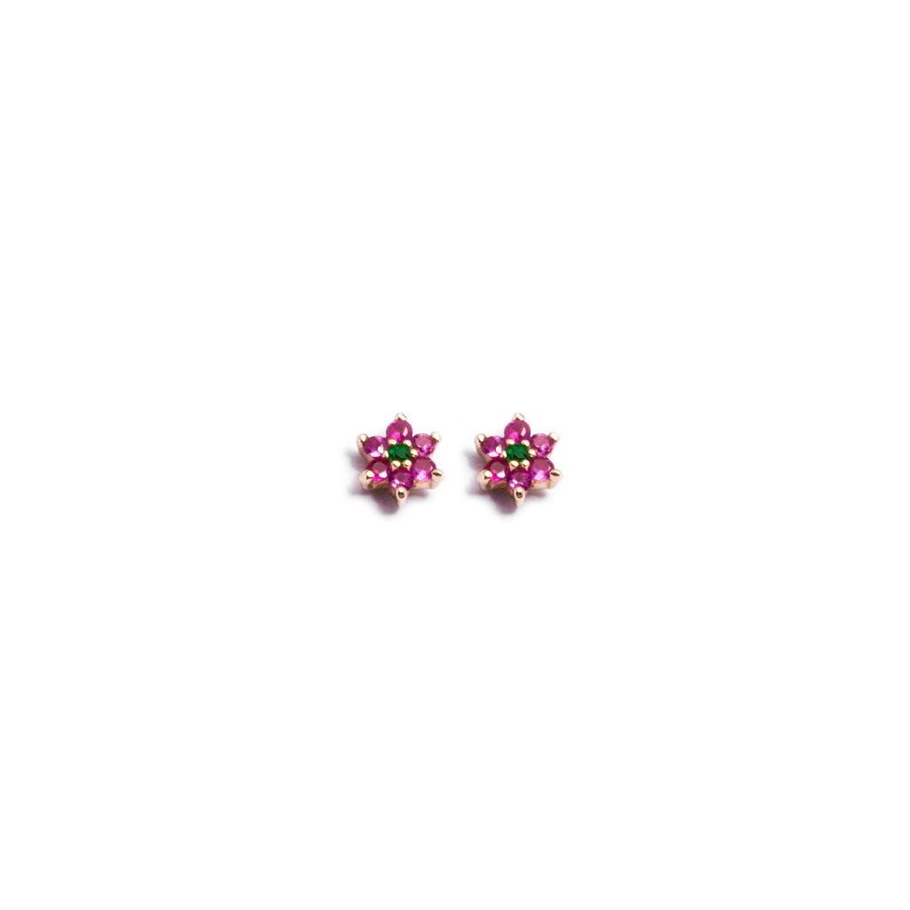 Ruby + Emerald Tiny Flower Studs