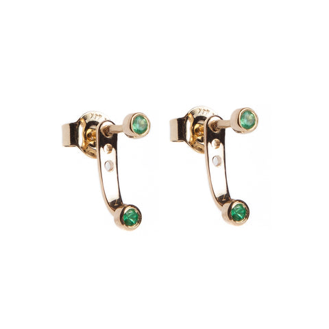 Double Emerald Studs