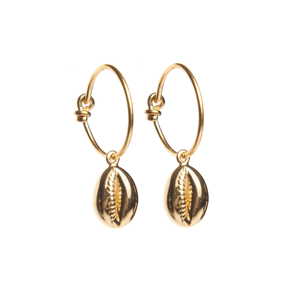 Cowry Shell Hoop Earrings