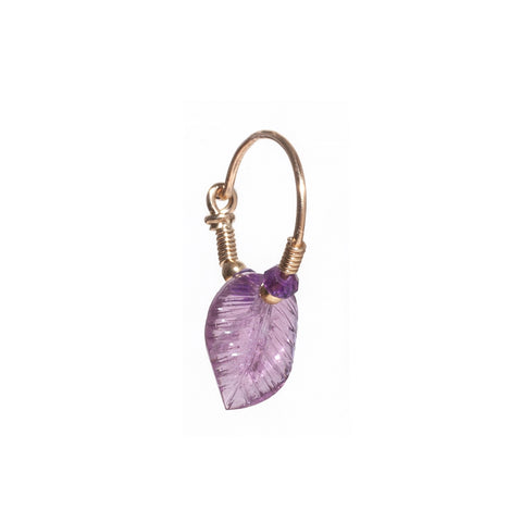Tourmaline Leaf Earring with Amethyst