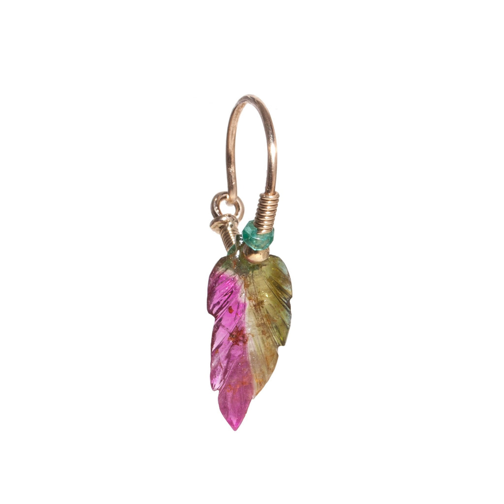 Watermelon Tourmaline Leaf Earring with Emerald