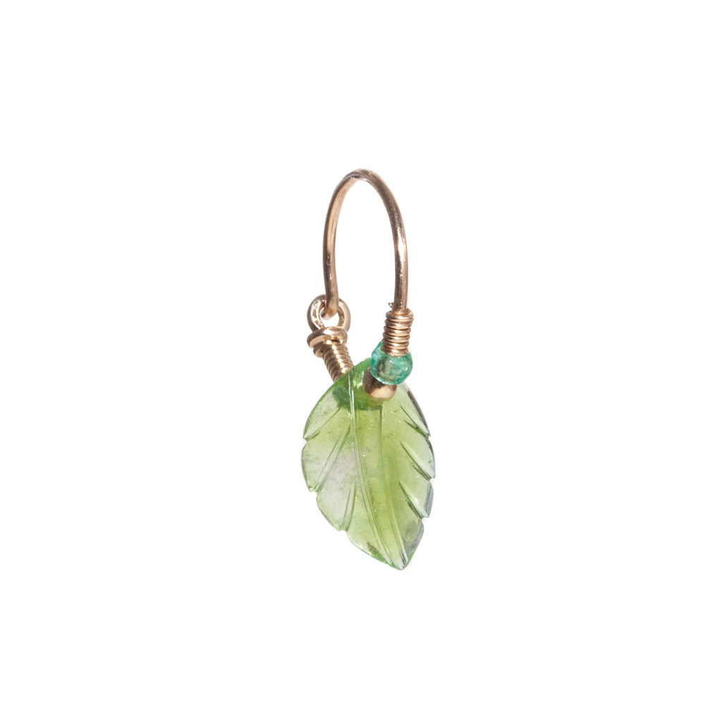 Tourmaline Leaf Earring with Emerald