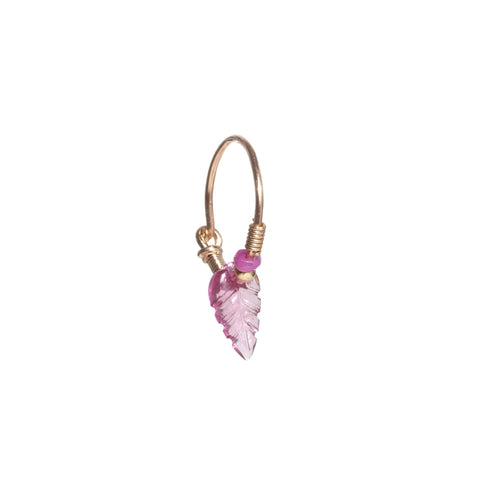 Tourmaline Leaf Earring with Ruby