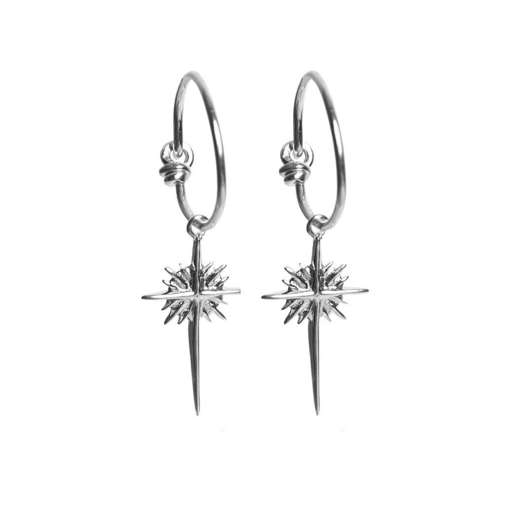 Silver North Star Hoop Earrings