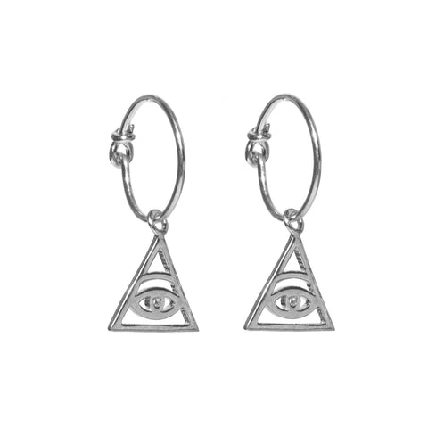 The Eye of Ra Silver Hoop Earrings