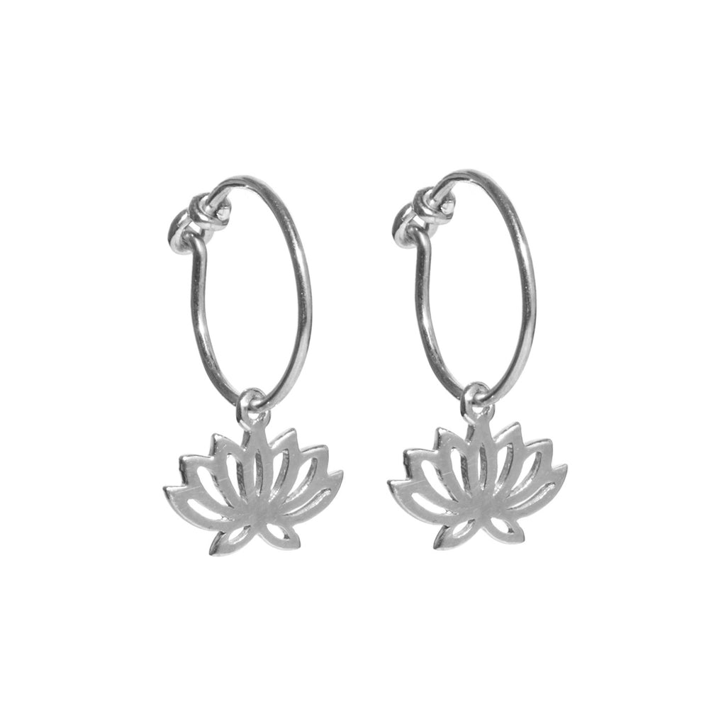Silver Lotus Hoop Earrings