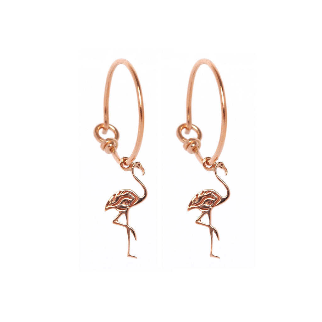 Flamingo Hoop Earrings