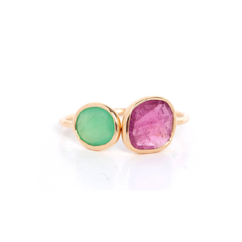 Chrysoprase + Tourmaline Cocktail Ring