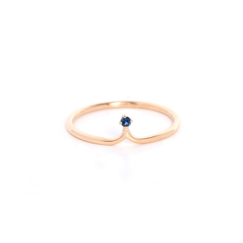 Single Sapphire Crown Ring
