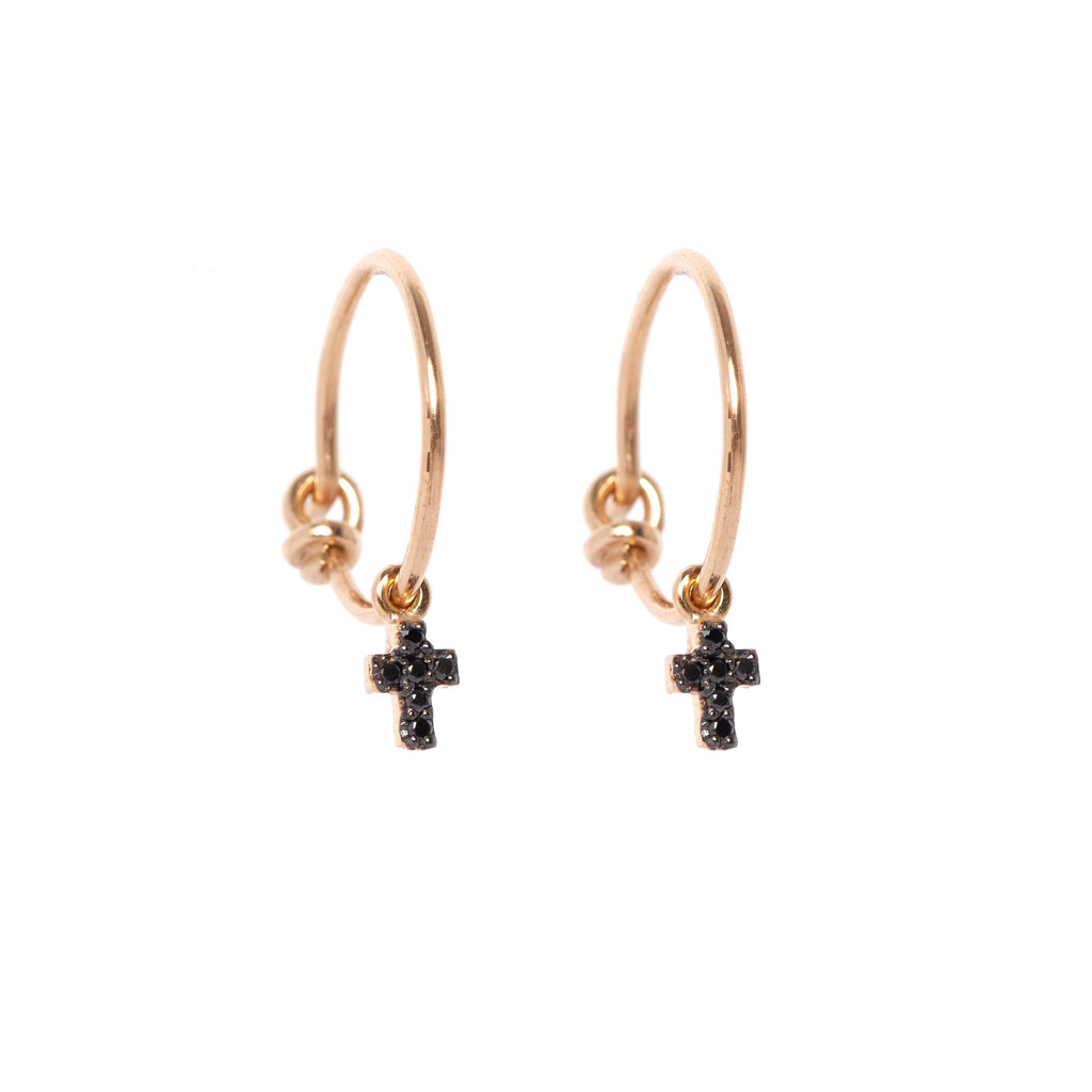 Black Diamond Cross Hoop Earrings