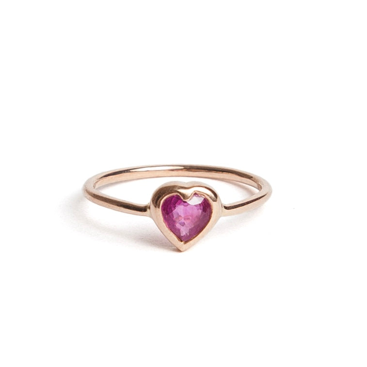 Ruby Heart Pinky Ring