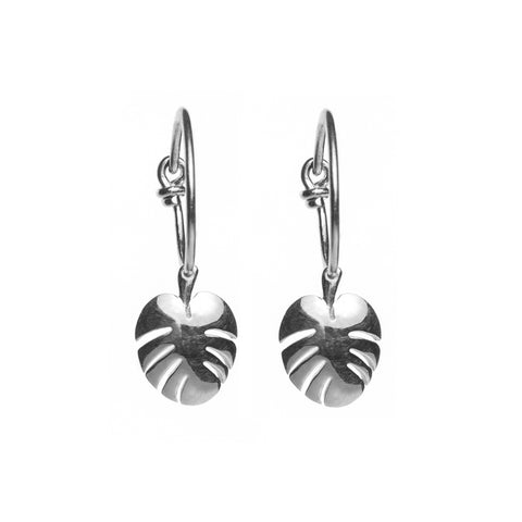 Silver Cheese Leaf Hoop Earrings