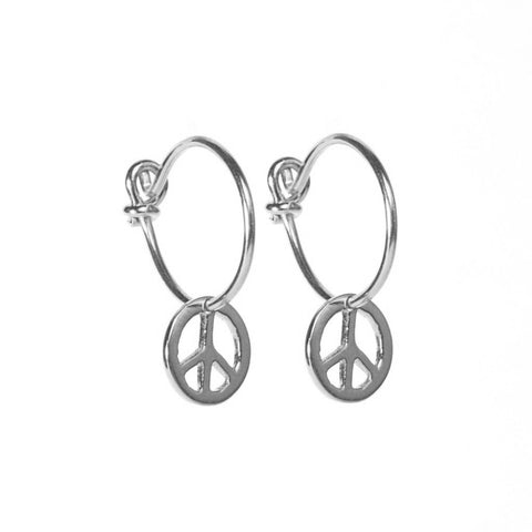 Silver Peace Hoop Earrings
