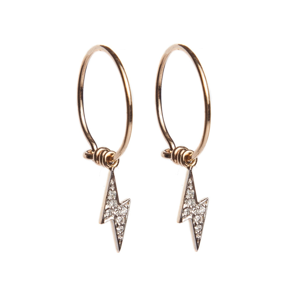 Diamond Lightning Hoop Earrings