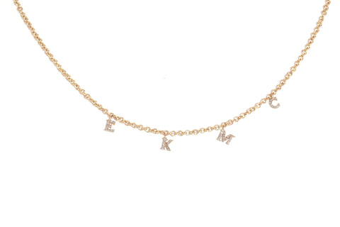Diamond Letter Charm Necklace