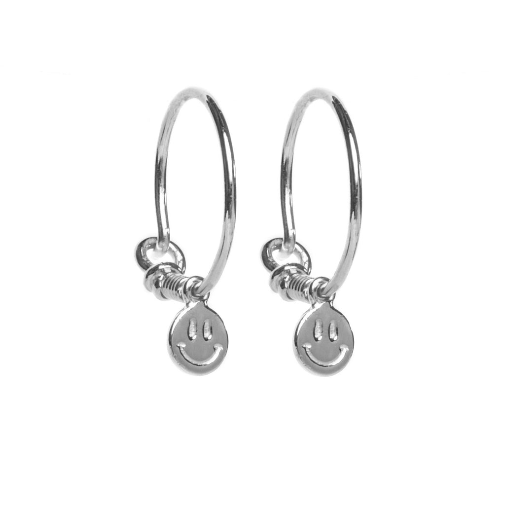 Smiley Face Silver Hoop Earrings
