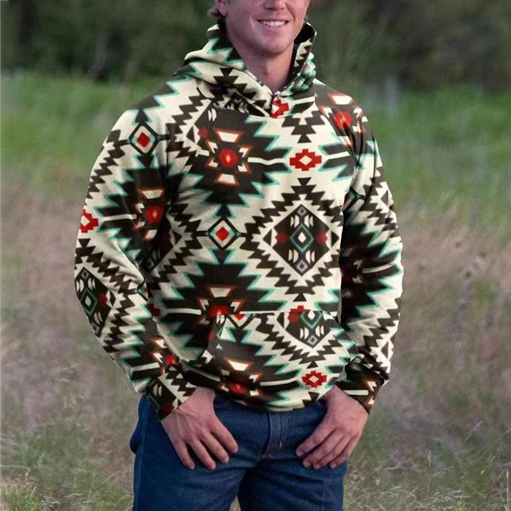 Ethnic AZTEC Print Pocket Front Raglan Sleeves Man Hoodie